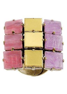 Konplott Ring Cleo lila light antique brass