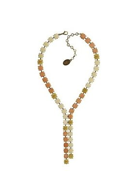 Konplott Necklace-Y cleo beige/white light antique brass