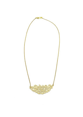 Sissy Koukeri Halsketting kort met hanger in blaadjesmotief goud