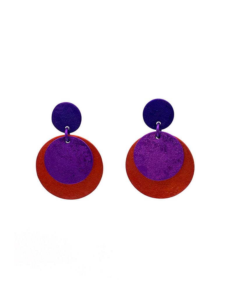 Oana Millet Oorbellen ronde plaatjes paars/rood