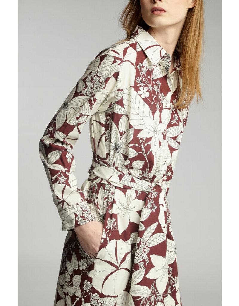 Zenggi Cotton Print Shirt Dress Cardinale