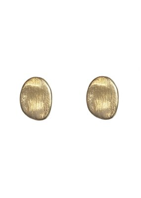 Marilia Capisani Oorbellen stekers gouden ovalen plaatjes met reliëf