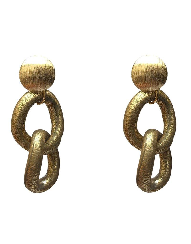 Marilia Capisani Oorbellen steker rond goud met schakels goud