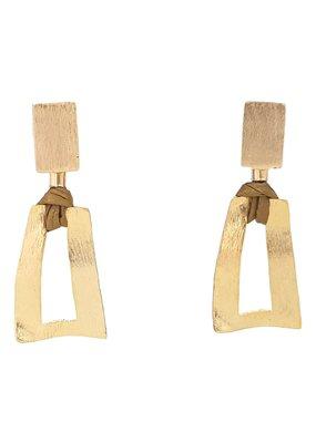 Marilia Capisani Oorbellen stekers rechthoek goud met open hanger