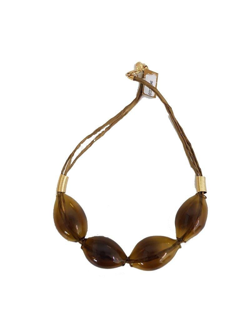 Marilia Capisani Halsketting kort met glazen bollen bruin