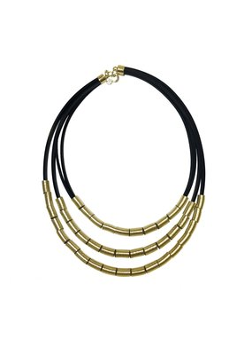 Marilia Capisani 3 Rubber Cords Short Necklace w/ Links - Gold