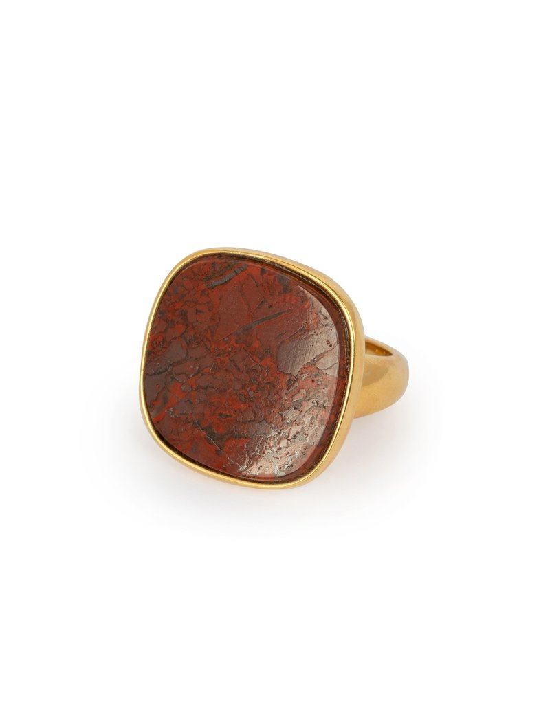 Wouters & Hendrix STATEMENT SIGNET RING WITH RED MOSS AGATE
