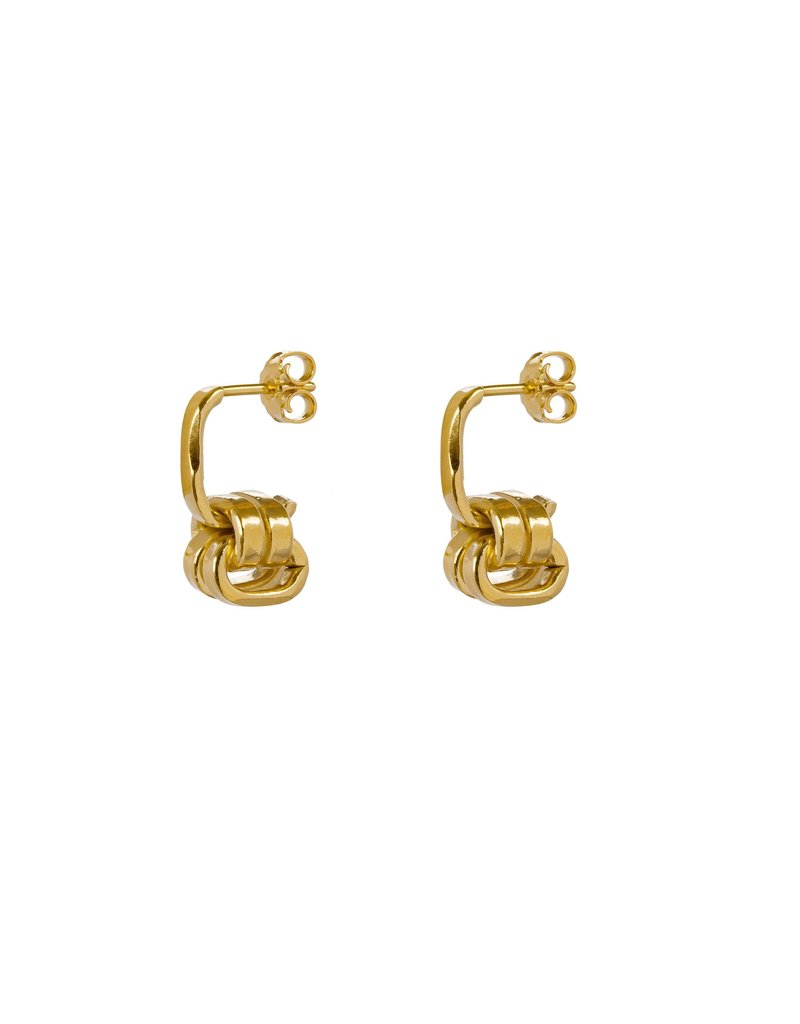 Wouters & Hendrix STUD EARRINGS WITH SERIES OF CHAIN ELEMENTS GOLD