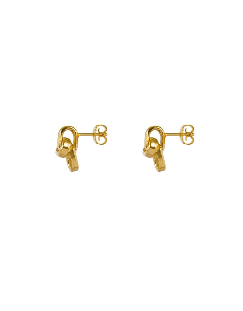 Wouters & Hendrix SUBTLE STUD EARRINGS WITH CHAIN ELEMENTS GOLD