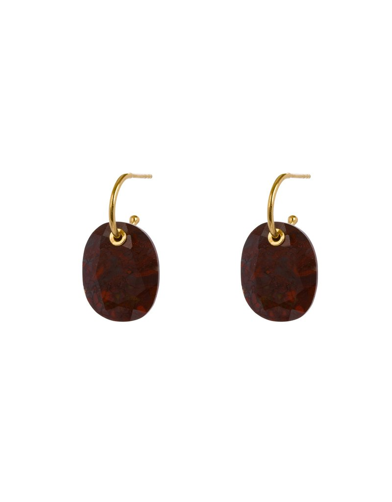 Wouters & Hendrix HOOP EARRINGS WITH RED MOSS AGATE PENDANT