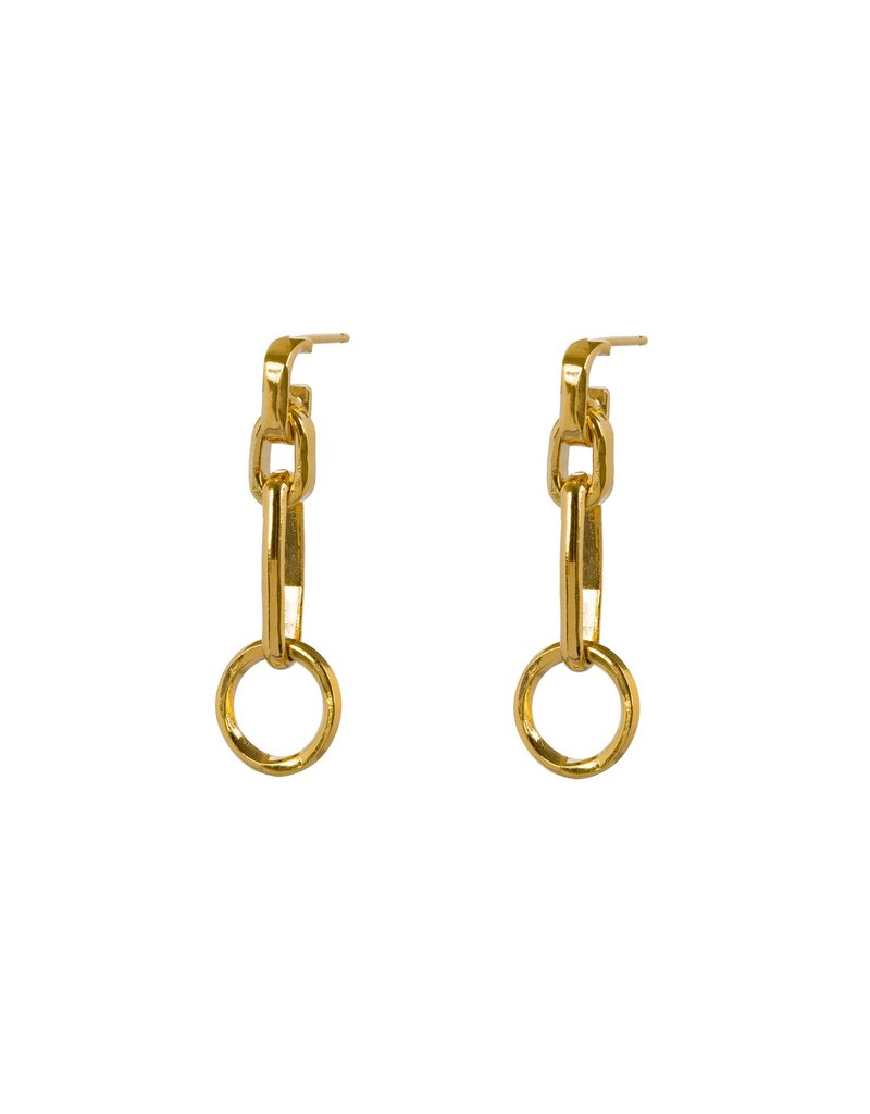 Wouters & Hendrix LONG STUD EARRINGS WITH CHAIN ELEMENTS AND CIRCLE GOLD