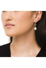 Wouters & Hendrix HOOP EARRINGS WITH PEARL AND CHAIN CLOSURE