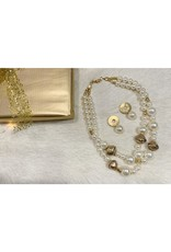 Christmas gift set including a pearl necklace and matching pearl earrings
