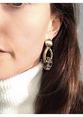 Marilia Capisani Stud earrings with gold plated chain and rough crystal stone