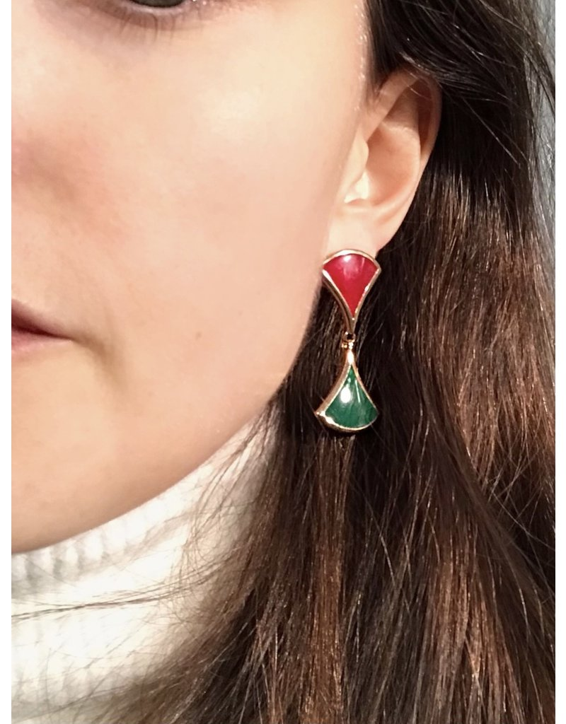 Earrings red and green triangles