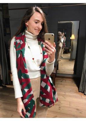 Sjaal met groen en rood motief