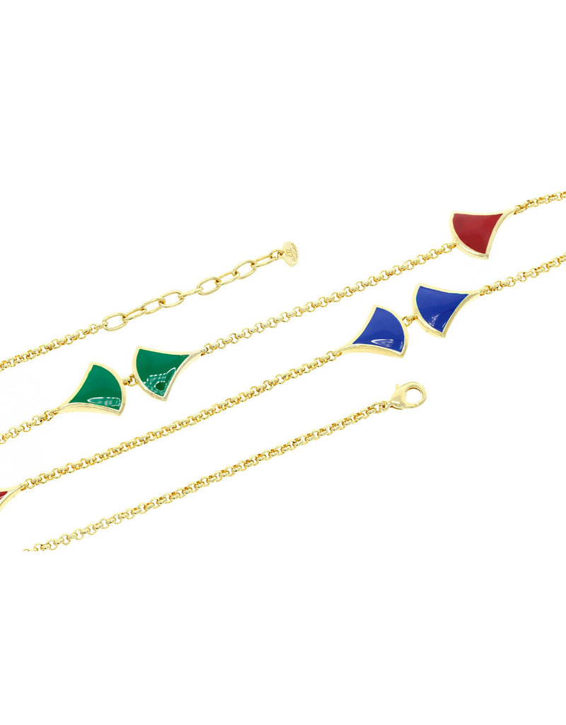 Long necklace gold plated silver with red, blue en green enamels charms