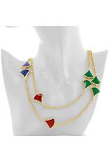 Lange ketting zilver verguld met rode, blauwe en groene gekleurde accenten
