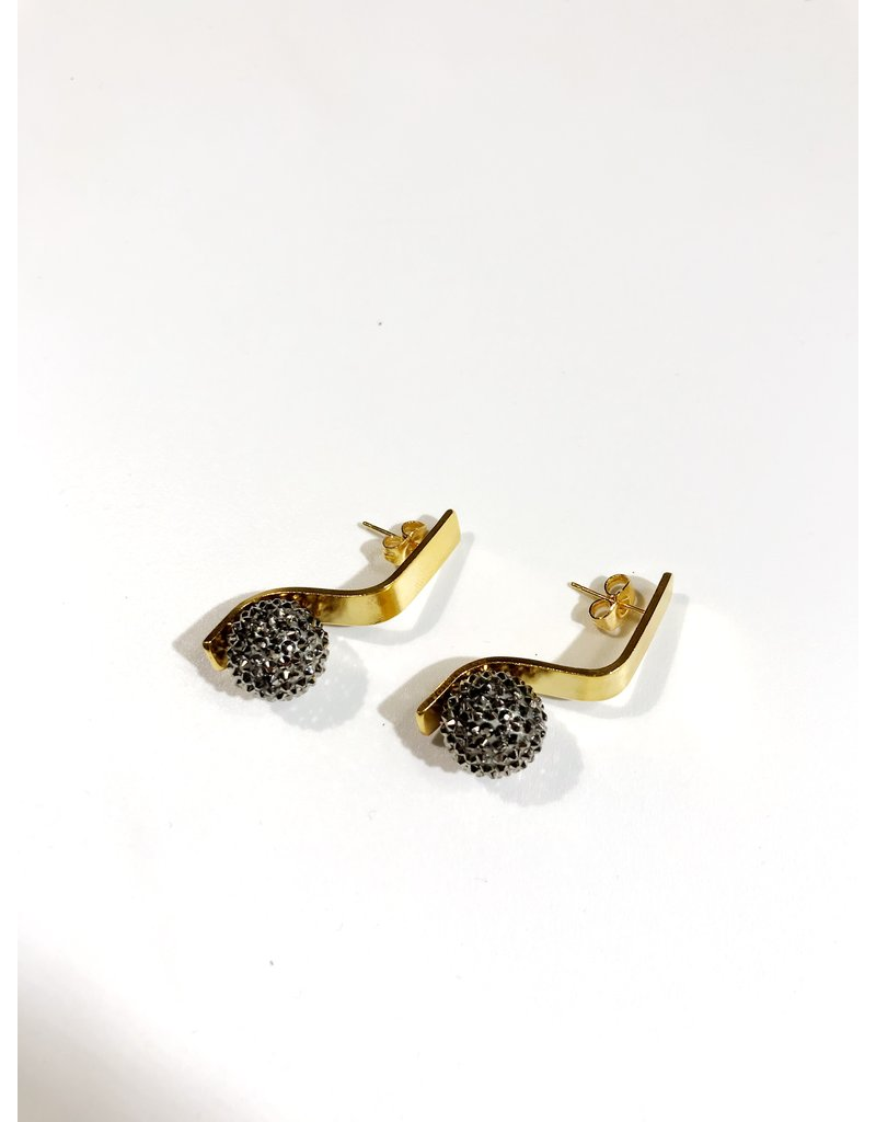 Liami Fotini Stud earrings in gold folded rectangle with black crystal ball