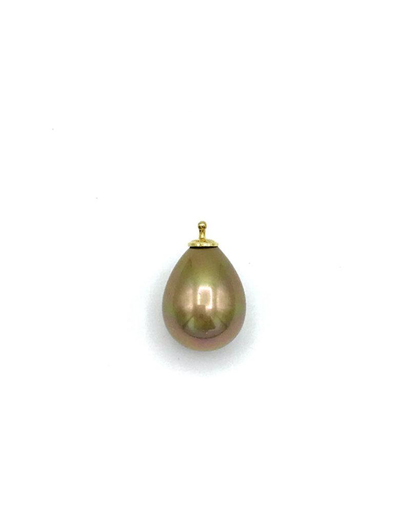 Heide Heinzendorff Wisselhanger goudkleurige parel 16mm met gouden top