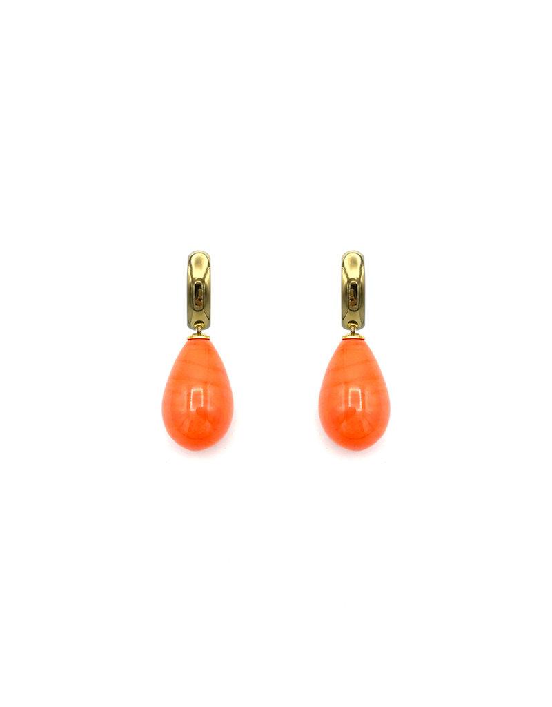 Heide Heinzendorff Changeable pendant orange quartz drop 30x15mm golden top
