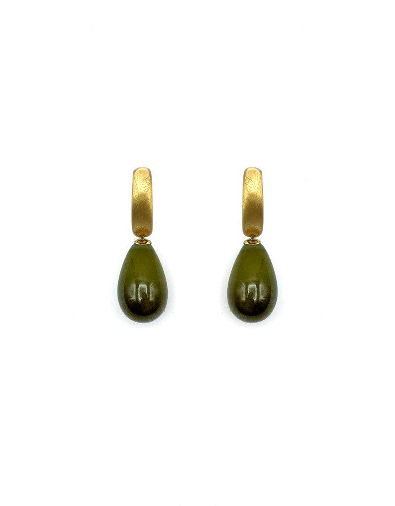 Heide Heinzendorff Changeable pendant khaki green quartz drop 30x15mm golden top