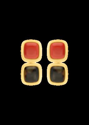Atelier Louiza Earrings Camille Coral&Torto