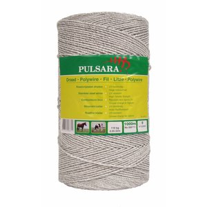 Elephant/Pulsara 1000 m, 9 rustfrie tråde, hvid