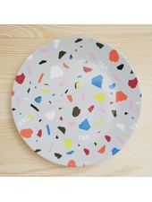 Small Plate with Terrazzo Print in Gray