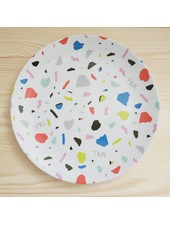 Large Plate with Terrazzo Print in White