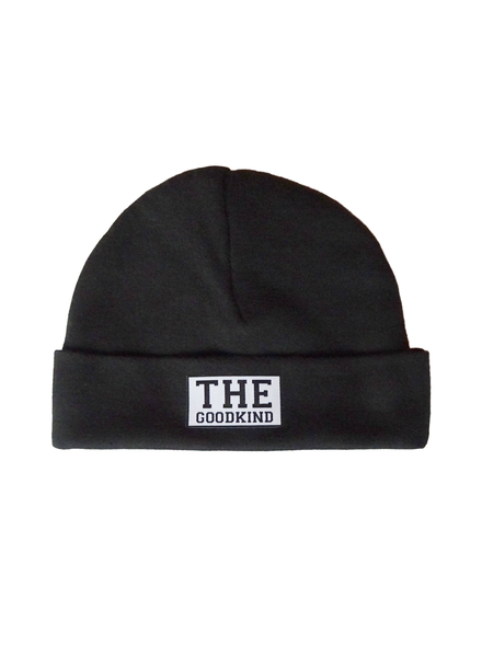 Black baby beanie with logo