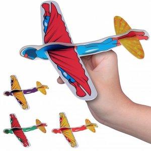 Huismerk Superhelden Foam Vliegtuigjes in Display (48 stuks)