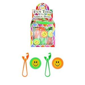 Huismerk Uitdeelcadeautjes - Vrolijke Smiley Schijven Schieters in Traktatiebox (48 stuks)