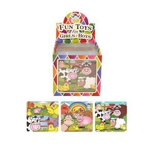Huismerk Uitdeelcadeautjes - Puzzel: Boerderij Dieren, 13 x 12 Cm in Traktatiebox (108 stuks)