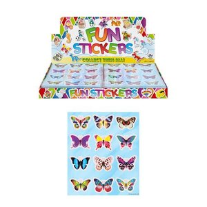 Huismerk Uitdeelcadeautjes - Fun Stickers - Model: Vlinders in Display (120 stuks)