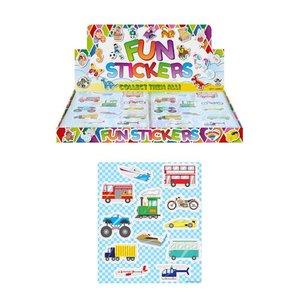 Huismerk Uitdeelcadeautjes - Fun Stickers - Model: Voertuigen in Display (120 stuks)