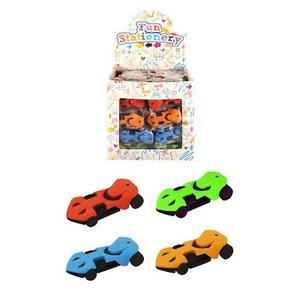 Huismerk Uitdeelcadeautjes - Gummen - Model: Moderne Sport Autootjes in Traktatiebox (96 stuks)