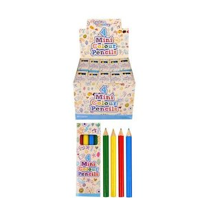 Huismerk Uitdeelcadeautjes - 4-Delige Kleine Kleurpotloden in doosje - in Display (120 stuks)