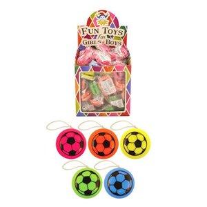 Huismerk Uitdeelcadeautjes - JO JO'S - Model: Voetballen in Traktatiebox (72 stuks)