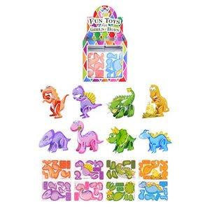 Huismerk Uitdeelcadeautjes - Mini 3D Dinosaurussen Puzzels in Traktatiebox (144 stuks)