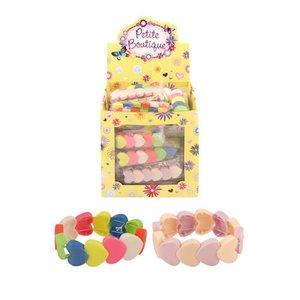 Huismerk Uitdeelcadeautjes - Harten Elastische Kinder Armbanden in Traktatiebox (60 Stuks)