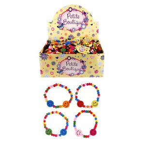 Huismerk Uitdeelcadeautjes - Vrolijke Smiley Houten Kinder Armbanden in Display (144 Stuks)