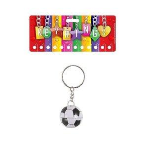 Huismerk Uitdeelcadeautjes - Metalen Voetbal Sleutelhangers op Kaart (12 stuks)