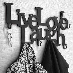 Jago Miadomodo - Wandgarderobe met tekst: LIVE, LOVE, LAUGH Design  - Muur / Wand Kapstok Voorzien van 6 Haken - Wandkapstok Garderobe – Kleur: Zwart