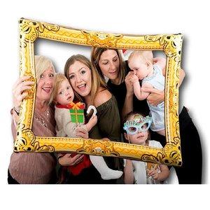 Henbrandt OPBLAASBAAR GROOT FOTO FRAME | FOTO PROPS | SELFIE FRAME / FOTOLIJST | INFLATABLE FAMILIE FOTO FRAME | 60 x 80 Cm. | Kleur: Goud
