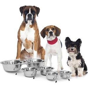 Relaxdays Voederstandaard metaal, drinkbak voederbak, pet feeder, hondenbar 2x0,47L