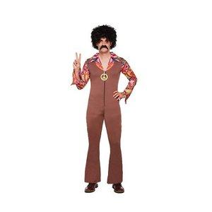 Henbrandt VOLWASSENEN Man Jaren 60/70 Hippie Flower Power Jumpsuit met Ketting | Hippie Kostuum | Carnavalskleding | Verkleedkleding |  Flower Power Feest Kostuum  | Man | Maat: 46-52 - One Size Fitts all.
