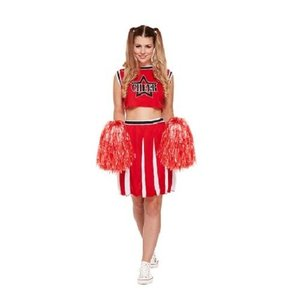 Henbrandt VOLWASSENEN Dames 4-Delig USA Cheerleader Kostuum, Inclusief 2 Pompons | Kleur: Rood / Wit | Cheerleader Jurkje | Carnavalskleding | Verkleedkleding |  Cheer Leader Feest Kostuum  | Dames / Vrouw | Maat: One Size Fitts all.
