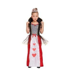 Henbrandt KINDEREN Meisjes Alice in Wonderland Queen of Hearts Kostuum | De Koningin van de Harten Jurk | Kleur: Rood / Wit / Zwart | Harten Koningin | Carnavalskleding | Verkleedkleding | Feest Kostuum  | Meisjes | Maat: Medium  7-9 Jaar.