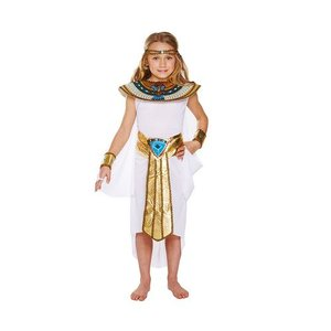 Henbrandt KINDEREN MEISJES 5-Delige Egypte Kostuum | Walk Like a Cleopatra  | Egyptische Kleding | Kleur: Wit / Goud | Carnavalskleding | Verkleedkleding | Feest Jurk 100 | Meisjes | Maat: Medium - 7-9 Jaar.